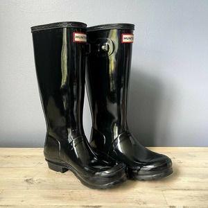 Hunter Original Girl 5 Tall Gloss Black Rain Boots